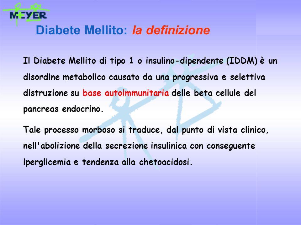Il Diabete Mellito di tipo 1 o insulino-dipendente (IDDM) è un disordine metabolico causato da una progressiva e selettiva distruzione su base autoimm