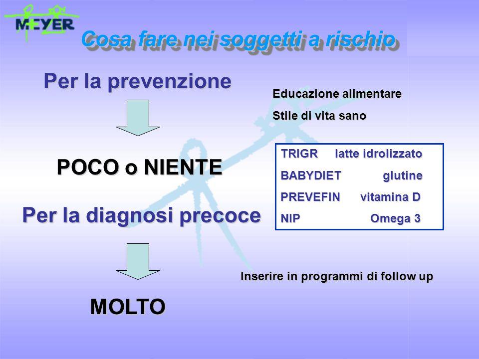 Cosa fare nei soggetti a rischio Per la prevenzione POCO o NIENTE Per la diagnosi precoce MOLTO Educazione alimentare Stile di vita sano Inserire in p