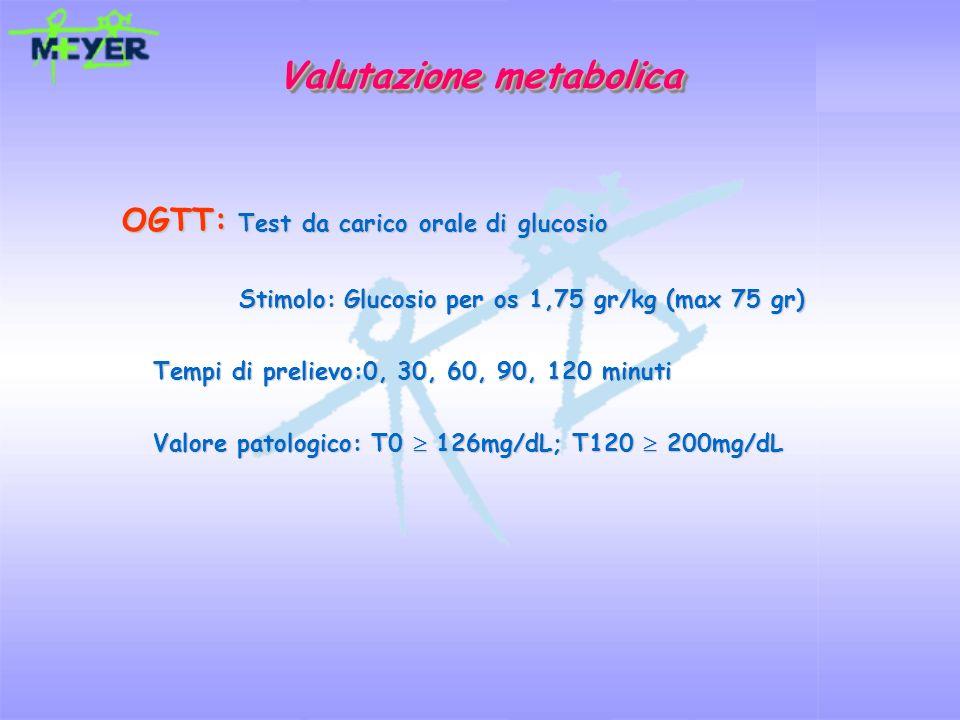 OGTT: Test da carico orale di glucosio Stimolo: Glucosio per os 1,75 gr/kg (max 75 gr) Stimolo: Glucosio per os 1,75 gr/kg (max 75 gr) Tempi di prelie