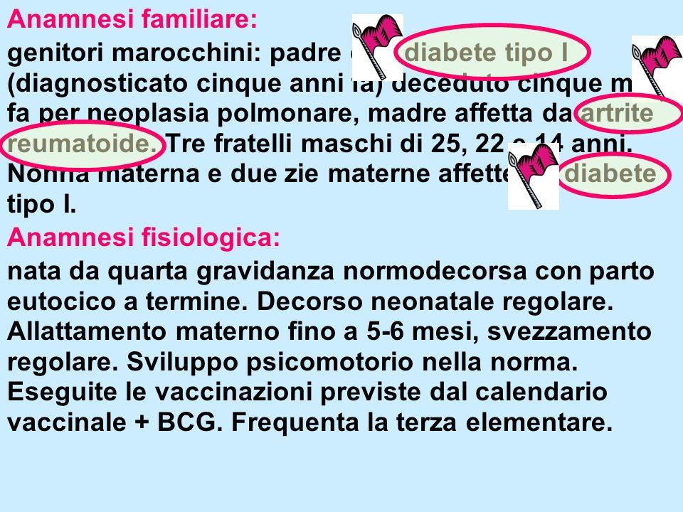 Anamnesi familiare: genitori marocchini: padre con diabete tipo I (diagnosticato cinque anni fa) deceduto cinque mesi fa per neoplasia polmonare, madr