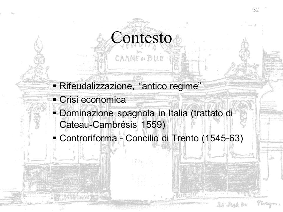 32 Contesto Rifeudalizzazione, antico regime Crisi economica Dominazione spagnola in Italia (trattato di Cateau-Cambrésis 1559) Controriforma - Concil