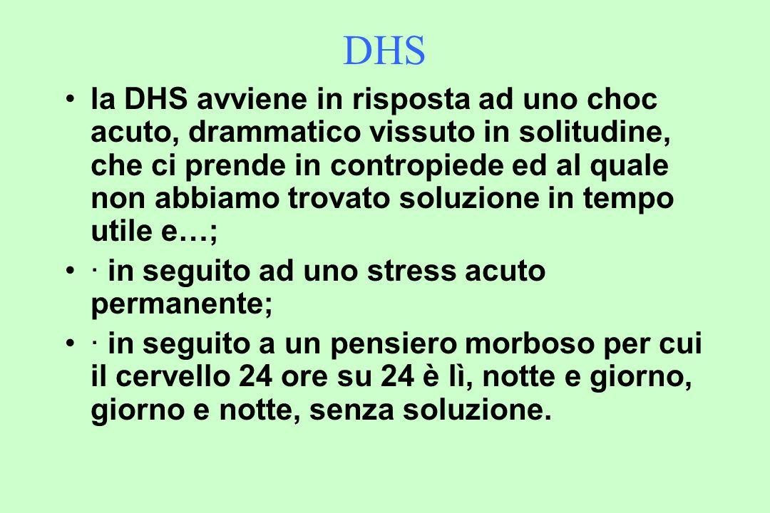 DHS la DHS avviene in risposta ad uno choc acuto, drammatico vissuto in solitudine, che ci prende in contropiede ed al quale non abbiamo trovato soluzione in tempo utile e…; · in seguito ad uno stress acuto permanente; · in seguito a un pensiero morboso per cui il cervello 24 ore su 24 è lì, notte e giorno, giorno e notte, senza soluzione.