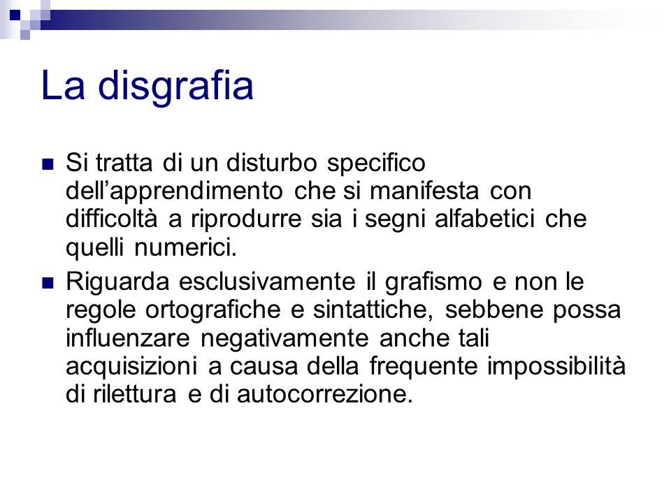 La disgrafia Si tratta di un disturbo specifico dellapprendimento che si manifesta con difficoltà a riprodurre sia i segni alfabetici che quelli numer