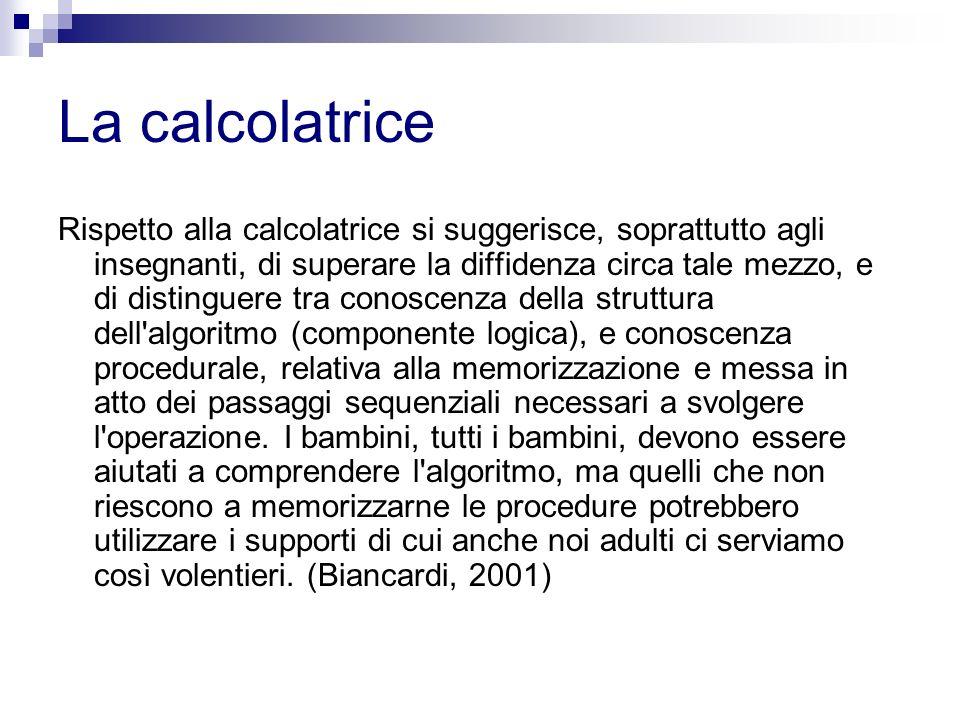 La calcolatrice Rispetto alla calcolatrice si suggerisce, soprattutto agli insegnanti, di superare la diffidenza circa tale mezzo, e di distinguere tr