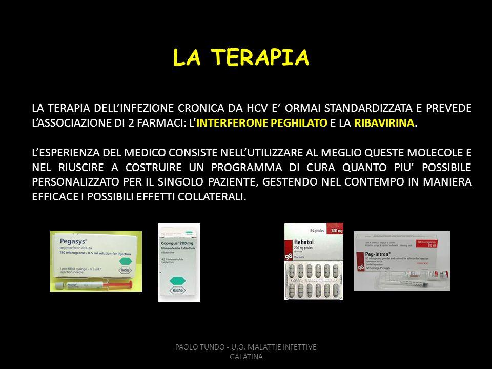 PAOLO TUNDO - U.O. MALATTIE INFETTIVE GALATINA LA TERAPIA DELLINFEZIONE CRONICA DA HCV E ORMAI STANDARDIZZATA E PREVEDE LASSOCIAZIONE DI 2 FARMACI: LI