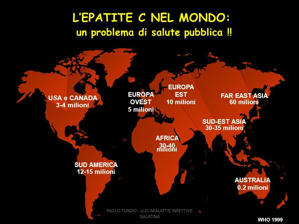 USA e CANADA 3-4 milioni SUD AMERICA 12-15 milioni AFRICA 30-40 milioni EUROPA EST 10 milioni SUD-EST ASIA 30-35 milioni AUSTRALIA 0.2 milioni WHO 199