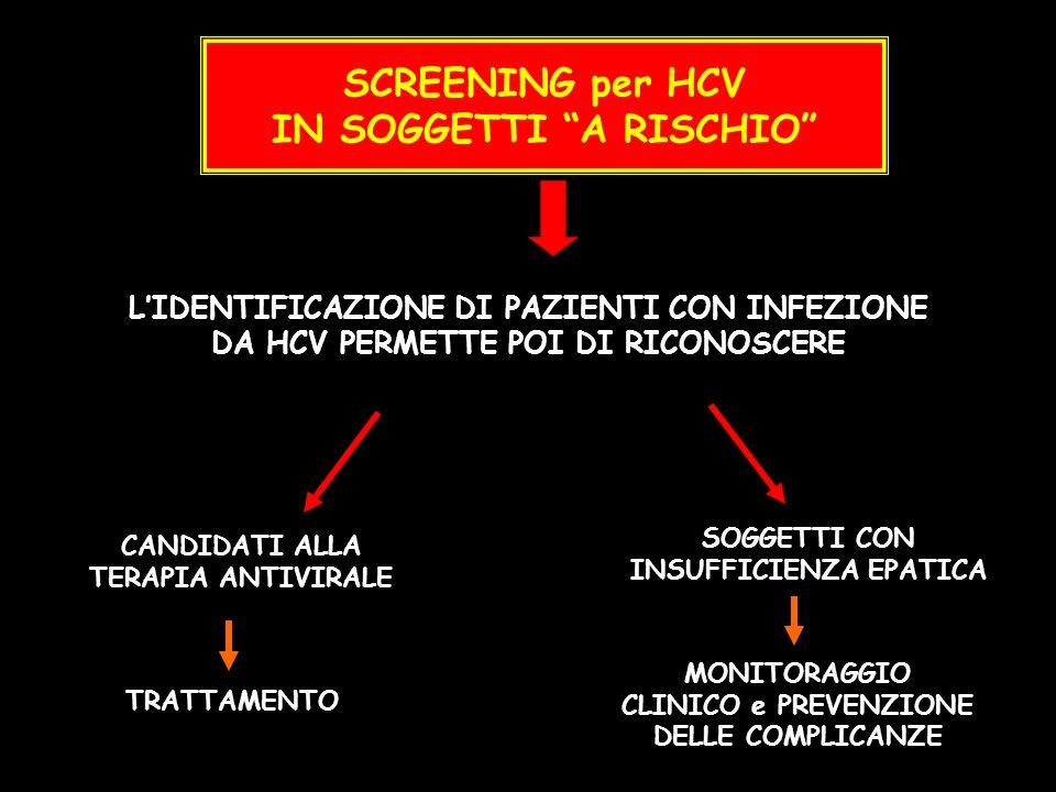 SCREENING per HCV IN SOGGETTI A RISCHIO LIDENTIFICAZIONE DI PAZIENTI CON INFEZIONE DA HCV PERMETTE POI DI RICONOSCERE CANDIDATI ALLA TERAPIA ANTIVIRAL