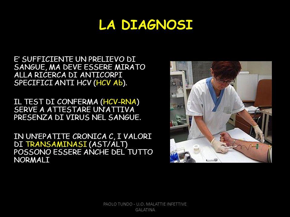 LA DIAGNOSI E SUFFICIENTE UN PRELIEVO DI SANGUE, MA DEVE ESSERE MIRATO ALLA RICERCA DI ANTICORPI SPECIFICI ANTI HCV (HCV Ab). IL TEST DI CONFERMA (HCV