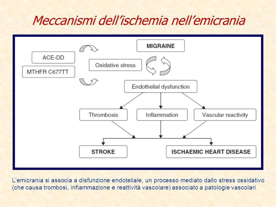 Meccanismi dellischemia nellemicrania Lemicrania si associa a disfunzione endoteliale, un processo mediato dallo stress ossidativo (che causa trombosi