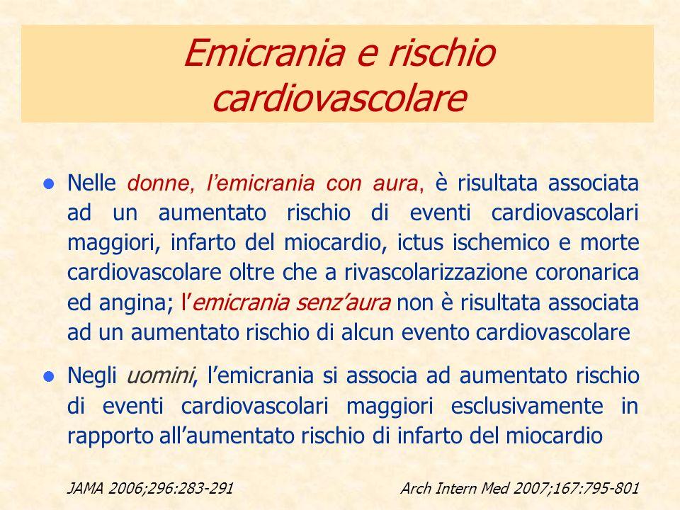 Nelle donne, lemicrania con aura, è risultata associata ad un aumentato rischio di eventi cardiovascolari maggiori, infarto del miocardio, ictus ische