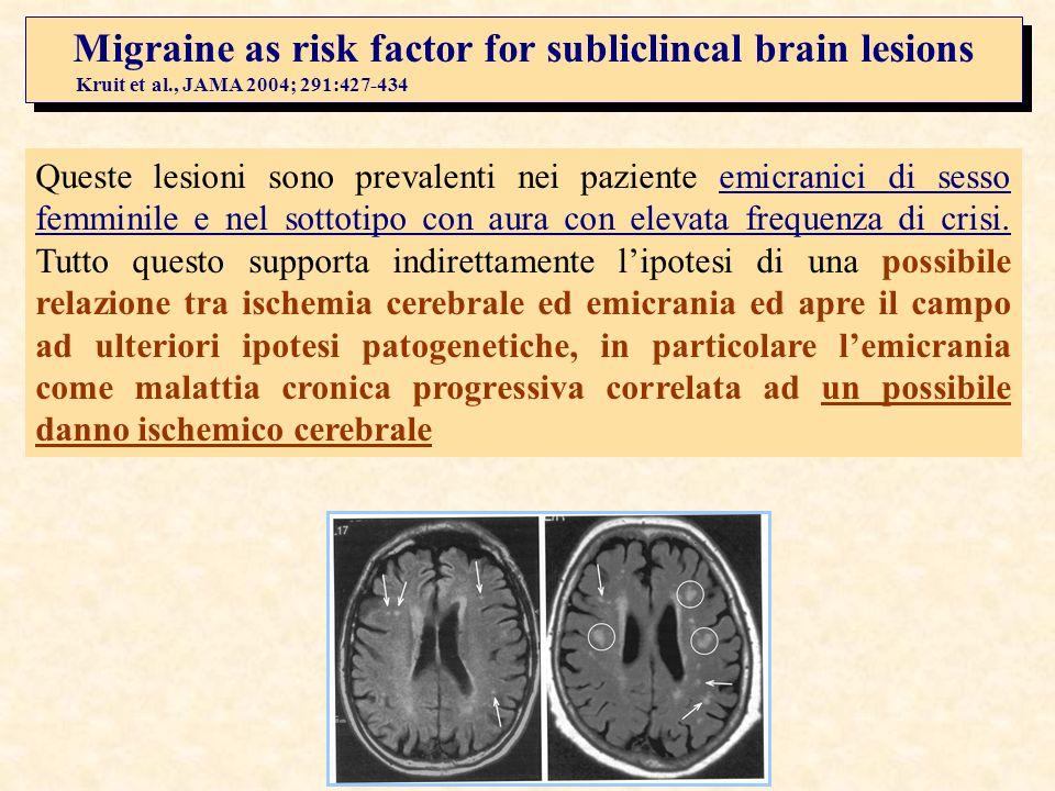 Kruit et al., JAMA 2004; 291:427-434 Migraine as risk factor for subliclincal brain lesions Kruit et al., JAMA 2004; 291:427-434 Queste lesioni sono p