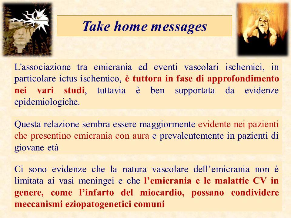 Take home messages L'associazione tra emicrania ed eventi vascolari ischemici, in particolare ictus ischemico, è tuttora in fase di approfondimento ne