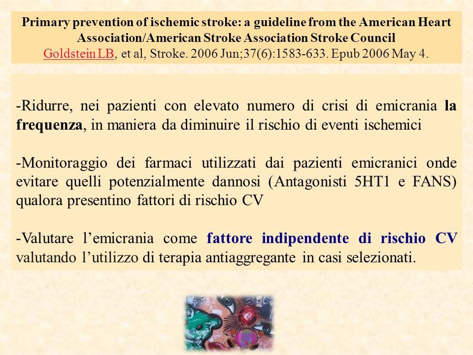 -Ridurre, nei pazienti con elevato numero di crisi di emicrania la frequenza, in maniera da diminuire il rischio di eventi ischemici -Monitoraggio dei