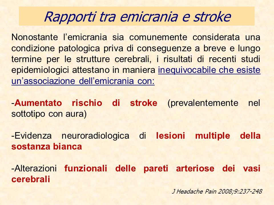 Rapporti tra emicrania e stroke Nonostante lemicrania sia comunemente considerata una condizione patologica priva di conseguenze a breve e lungo termi