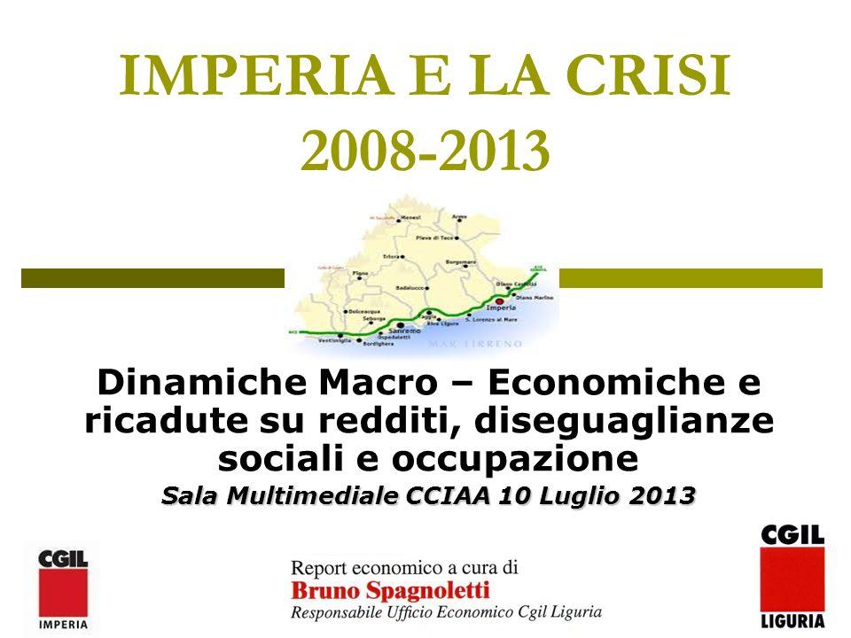 2 I Numeri Macro di IMPERIA POPOLAZIONE RESIDENTE214.502 INCIDENZA SU LIGURIA13,07% NUMERO IMPRESE ATTIVE23.812 INCIDENZA SU LIGURIA16% OCCUPATI MEDIA 201287.325 INCIDENZA SU LIGURIA13% Fonte: Elaborazione Ufficio Economico CGIL Liguria su dati ISTAT E UNIONCAMERE