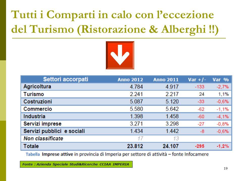 19 Tutti i Comparti in calo con leccezione del Turismo (Ristorazione & Alberghi !!) Fonte : Azienda Speciale Studi&Ricerche CCIAA IMPERIA