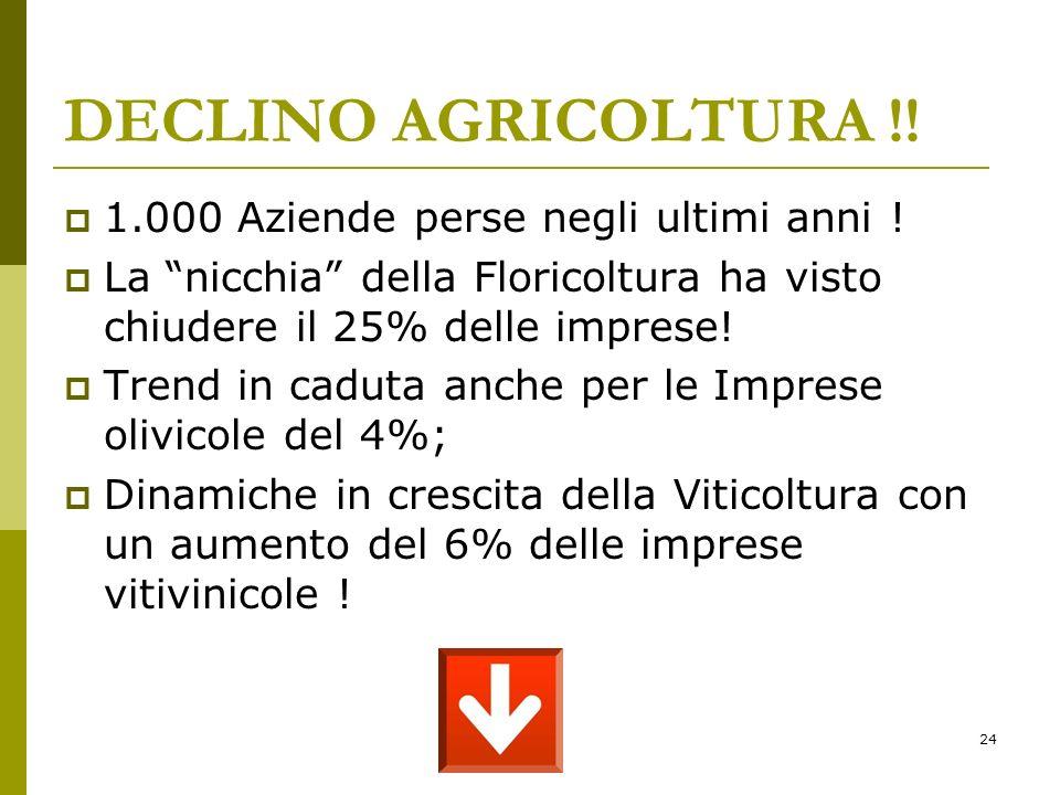 24 DECLINO AGRICOLTURA !. 1.000 Aziende perse negli ultimi anni .