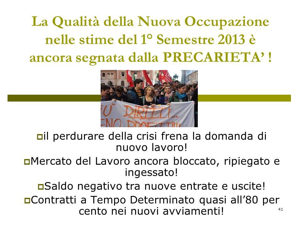 41 La Qualità della Nuova Occupazione nelle stime del 1° Semestre 2013 è ancora segnata dalla PRECARIETA .