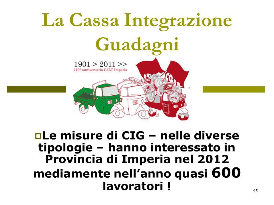 45 La Cassa Integrazione Guadagni Le misure di CIG – nelle diverse tipologie – hanno interessato in Provincia di Imperia nel 2012 mediamente nellanno quasi 600 lavoratori !