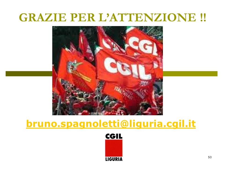50 GRAZIE PER LATTENZIONE !! bruno.spagnoletti@liguria.cgil.it