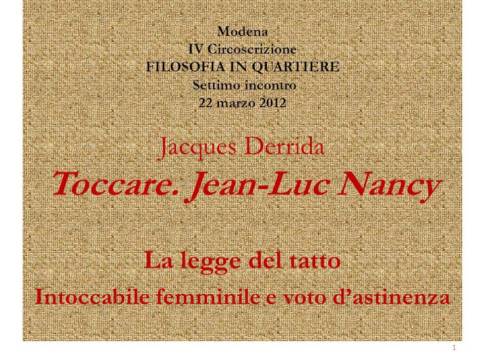 Modena IV Circoscrizione FILOSOFIA IN QUARTIERE Settimo incontro 22 marzo 2012 Jacques Derrida Toccare.