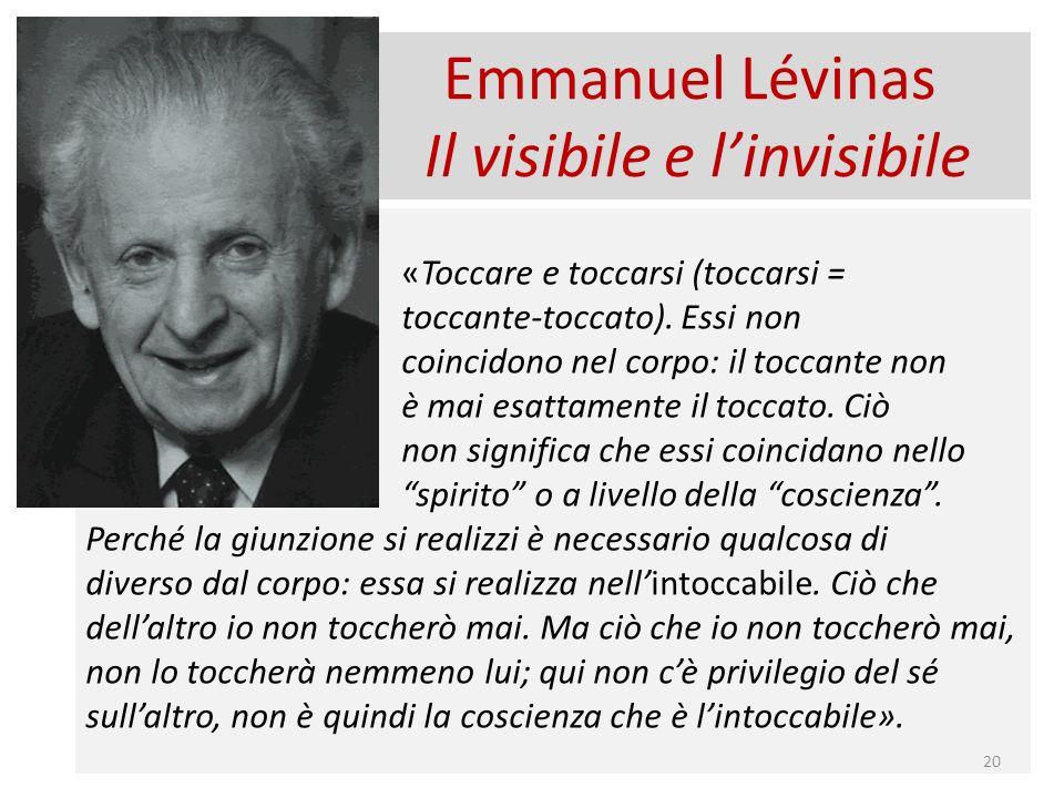 Emmanuel Lévinas Il visibile e linvisibile «Toccare e toccarsi (toccarsi = toccante-toccato).