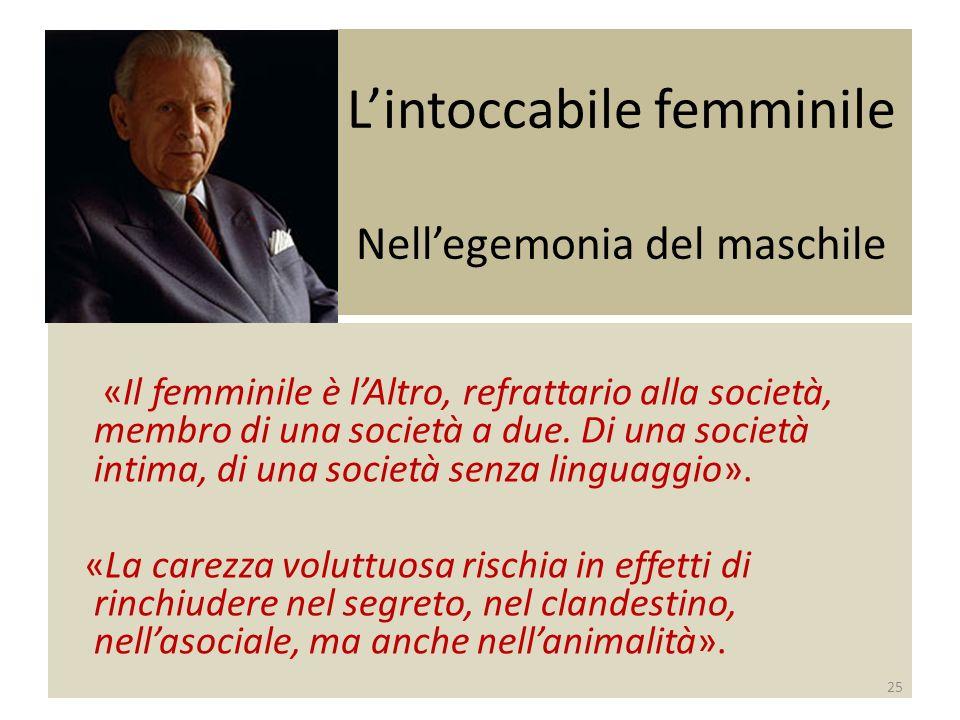 Lintoccabile femminile Nellegemonia del maschile «Il femminile è lAltro, refrattario alla società, membro di una società a due.