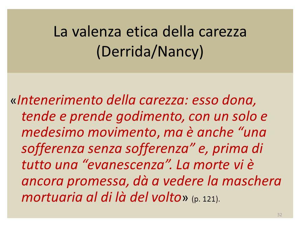 La valenza etica della carezza (Derrida/Nancy) « Intenerimento della carezza: esso dona, tende e prende godimento, con un solo e medesimo movimento, ma è anche una sofferenza senza sofferenza e, prima di tutto una evanescenza.
