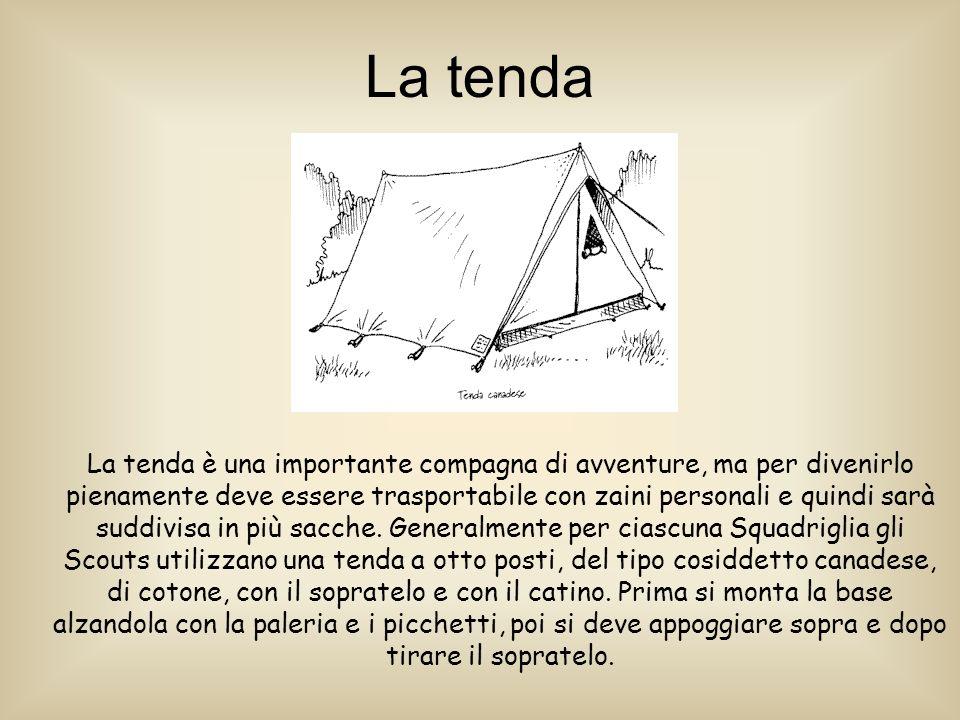 La tenda La tenda è una importante compagna di avventure, ma per divenirlo pienamente deve essere trasportabile con zaini personali e quindi sarà suddivisa in più sacche.