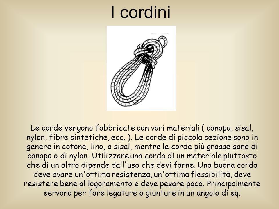 I cordini Le corde vengono fabbricate con vari materiali ( canapa, sisal, nylon, fibre sintetiche, ecc.