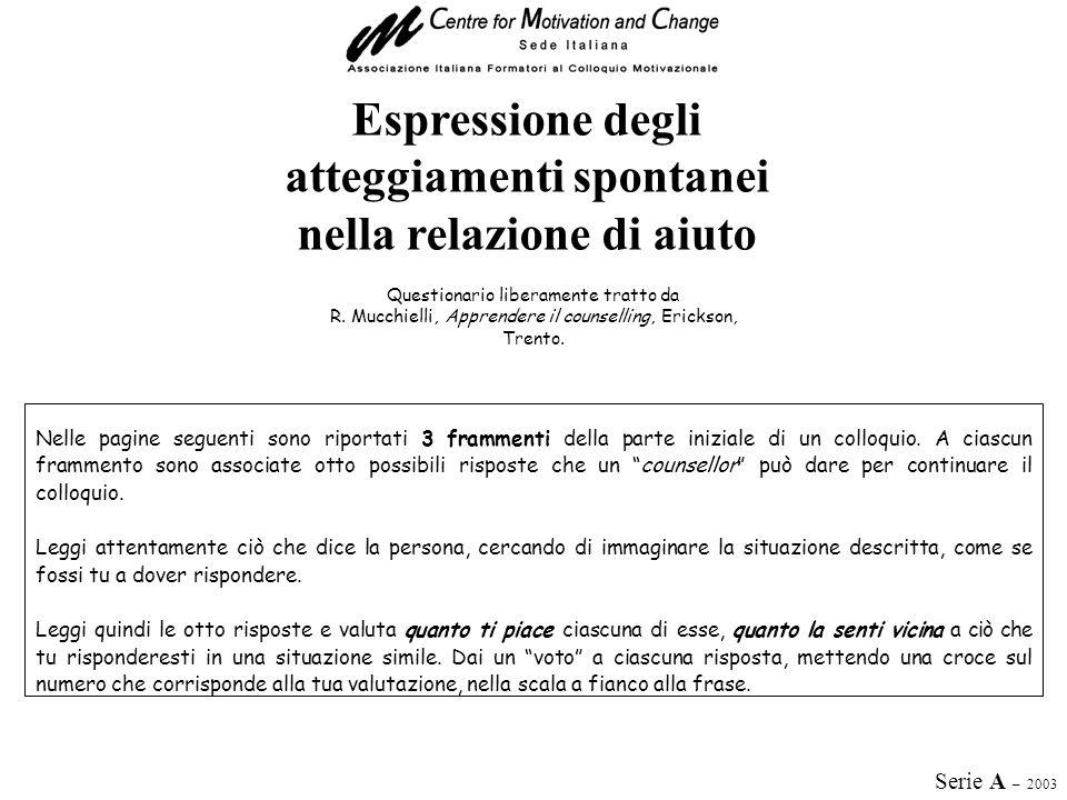 Espressione degli atteggiamenti spontanei nella relazione di aiuto Questionario liberamente tratto da R. Mucchielli, Apprendere il counselling, Ericks
