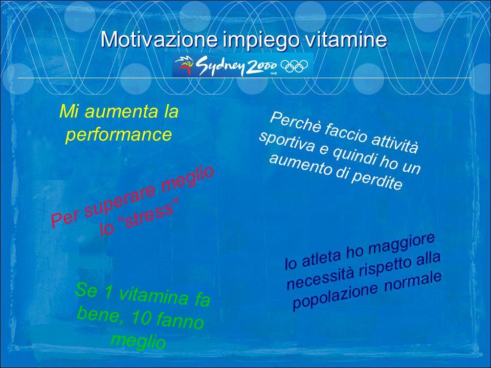 Mi aumenta la performance Io atleta ho maggiore necessità rispetto alla popolazione normale Se 1 vitamina fa bene, 10 fanno meglio Perchè faccio attiv