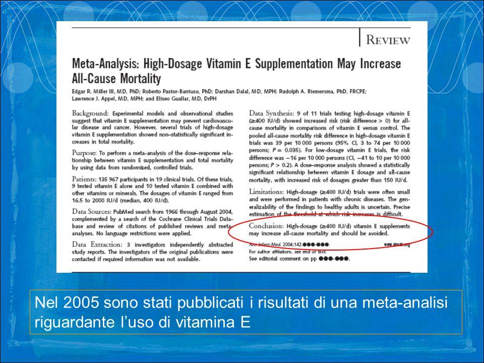 Nel 2005 sono stati pubblicati i risultati di una meta-analisi riguardante luso di vitamina E