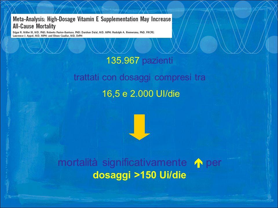 135.967 pazienti trattati con dosaggi compresi tra 16,5 e 2.000 UI/die mortalità significativamente per dosaggi >150 Ui/die