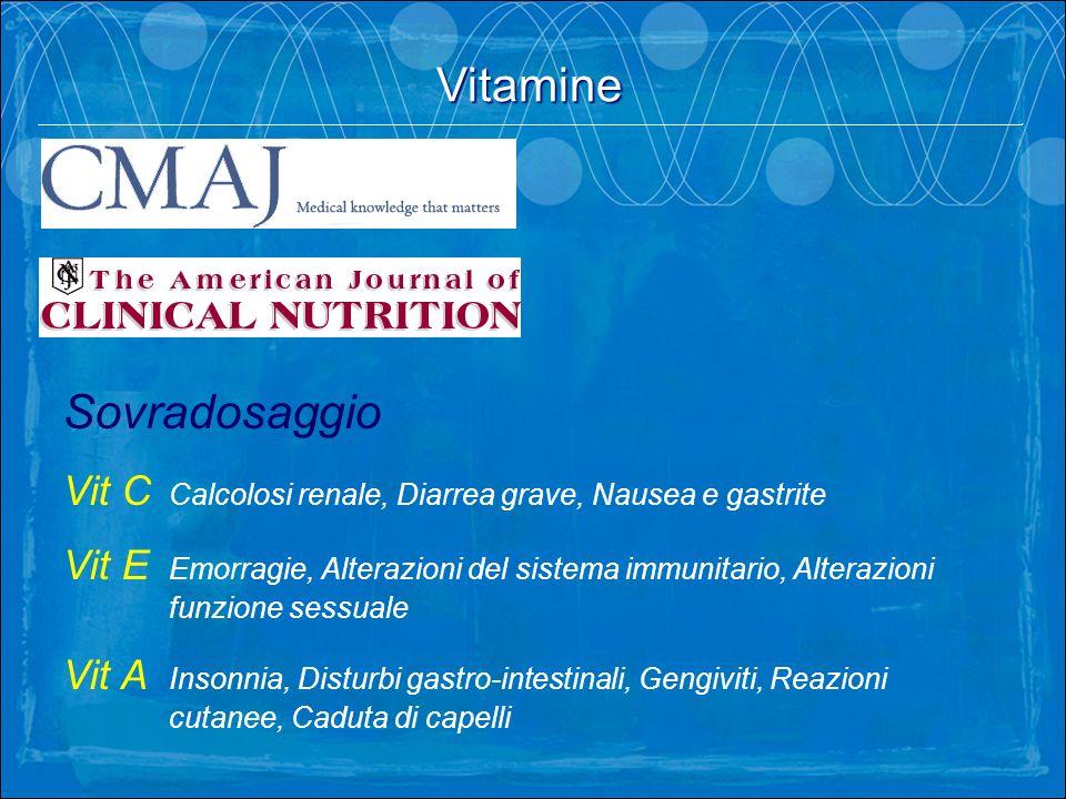 Vitamine. Sovradosaggio Vit C Calcolosi renale, Diarrea grave, Nausea e gastrite Vit E Emorragie, Alterazioni del sistema immunitario, Alterazioni fun