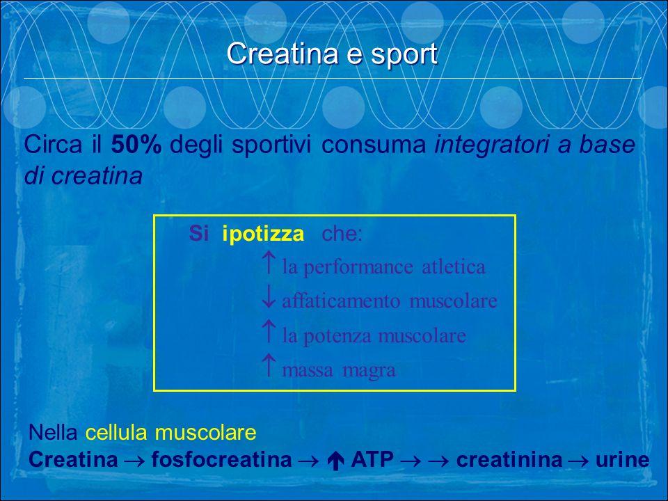 Circa il 50% degli sportivi consuma integratori a base di creatina Nella cellula muscolare Creatina fosfocreatina ATP creatinina urine Si ipotizza che