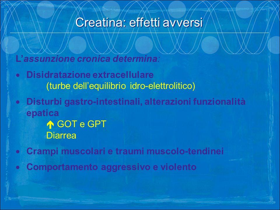 Lassunzione cronica determina: Disidratazione extracellulare (turbe dellequilibrio idro-elettrolitico) Disturbi gastro-intestinali, alterazioni funzio