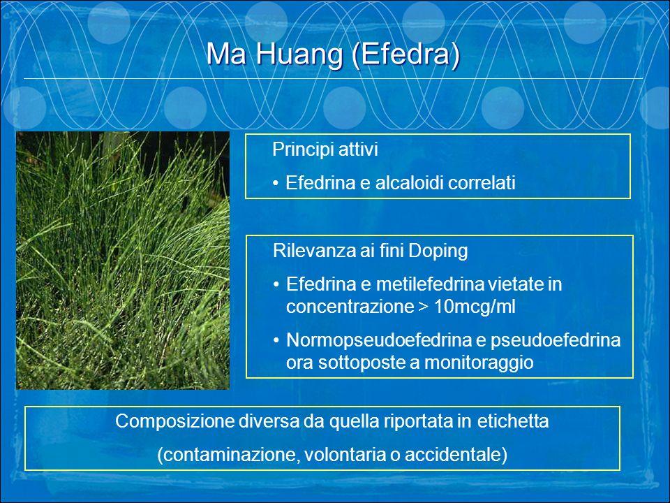 Ma Huang (Efedra). Principi attivi Efedrina e alcaloidi correlati Rilevanza ai fini Doping Efedrina e metilefedrina vietate in concentrazione > 10mcg/