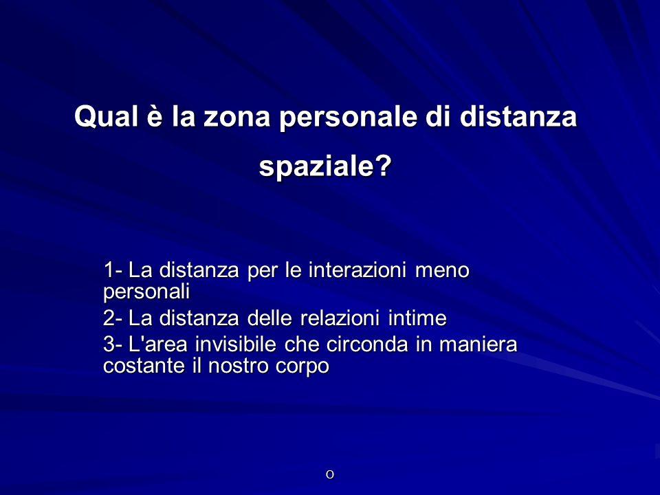 O Qual è la zona personale di distanza spaziale? 1- La distanza per le interazioni meno personali 2- La distanza delle relazioni intime 3- L'area invi