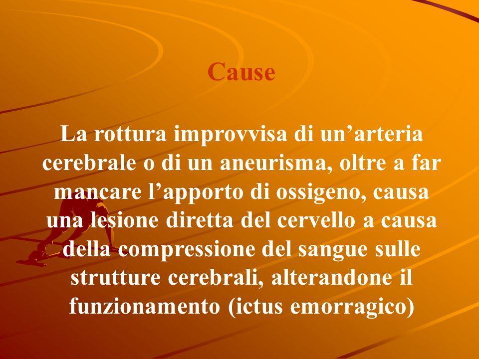 Cause La formazione di un trombo o la presenza di un embolo determina unostruzione improvvisa di un vaso cerebrale con arresto del flusso sanguigno ve