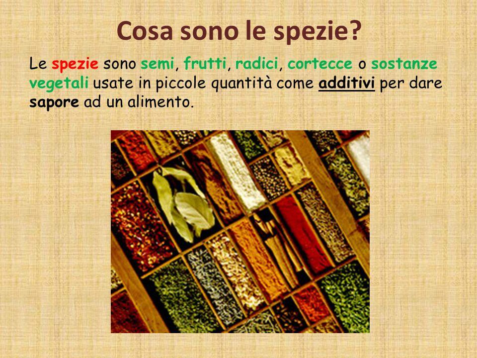 Cosa sono le spezie? Le spezie sono semi, frutti, radici, cortecce o sostanze vegetali usate in piccole quantità come additivi per dare sapore ad un a