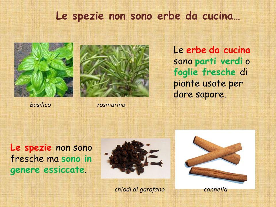 Le erbe da cucina sono parti verdi o foglie fresche di piante usate per dare sapore. Le spezie non sono fresche ma sono in genere essiccate. Le spezie
