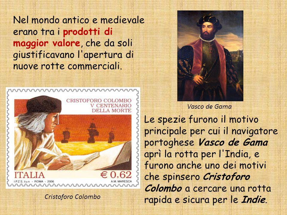 Nel mondo antico e medievale erano tra i prodotti di maggior valore, che da soli giustificavano l'apertura di nuove rotte commerciali. Vasco de Gama L