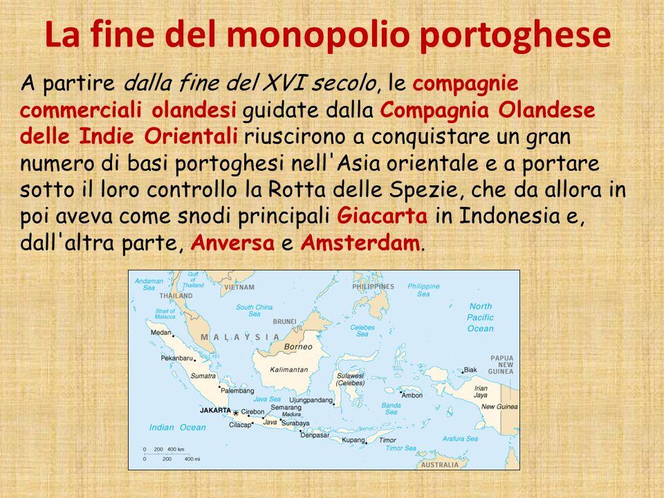La fine del monopolio portoghese A partire dalla fine del XVI secolo, le compagnie commerciali olandesi guidate dalla Compagnia Olandese delle Indie O