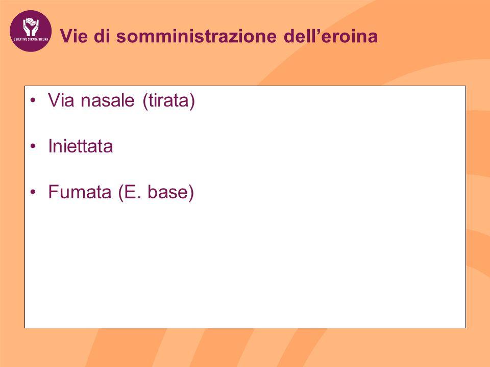 Vie di somministrazione delleroina Via nasale (tirata) Iniettata Fumata (E. base)