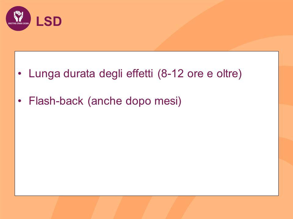 LSD Lunga durata degli effetti (8-12 ore e oltre) Flash-back (anche dopo mesi)