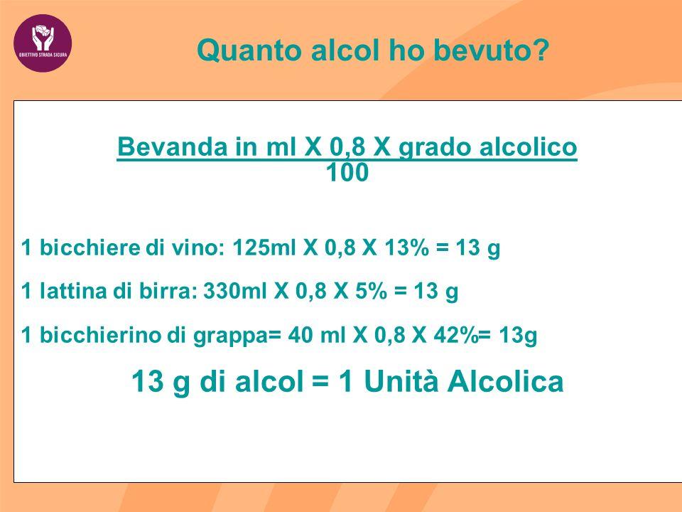 Quanto alcol ho bevuto? Bevanda in ml X 0,8 X grado alcolico 100 1 bicchiere di vino: 125ml X 0,8 X 13% = 13 g 1 lattina di birra: 330ml X 0,8 X 5% =