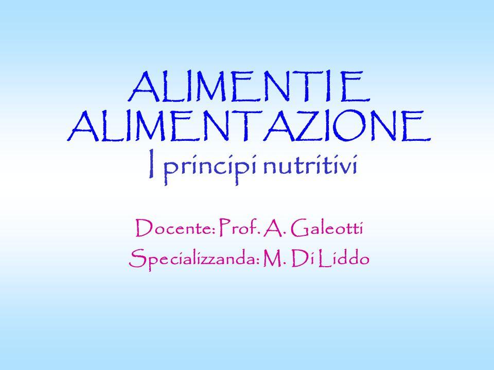 ALIMENTI E ALIMENTAZIONE I principi nutritivi Docente: Prof. A. Galeotti Specializzanda: M. Di Liddo