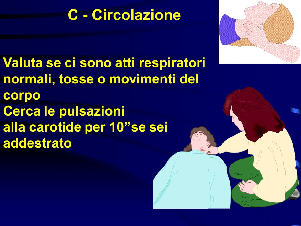 Se il torace non si solleva, controlla di nuovo: se ci sono corpi estranei in bocca se la posizione di testa e mento è corretta Riprova ad ottenere 2