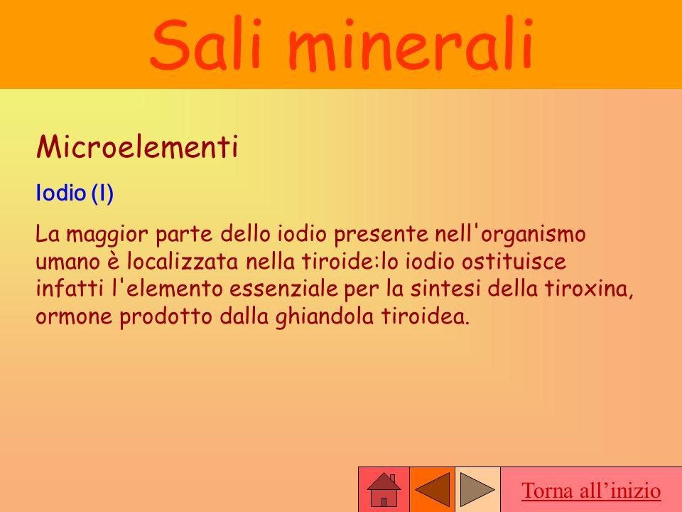 Torna allinizio Sali minerali Microelementi Iodio (I) La maggior parte dello iodio presente nell'organismo umano è localizzata nella tiroide:lo iodio